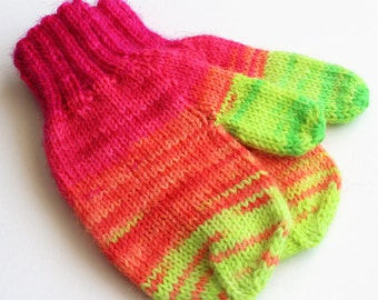 Kids Neon Wool Winter Gloves. Toddler 12 to 18 Months Mitts With Thumbs. Child Handwarmers. Fluorescent Thumbed Mittens. Cold Weather Gloves