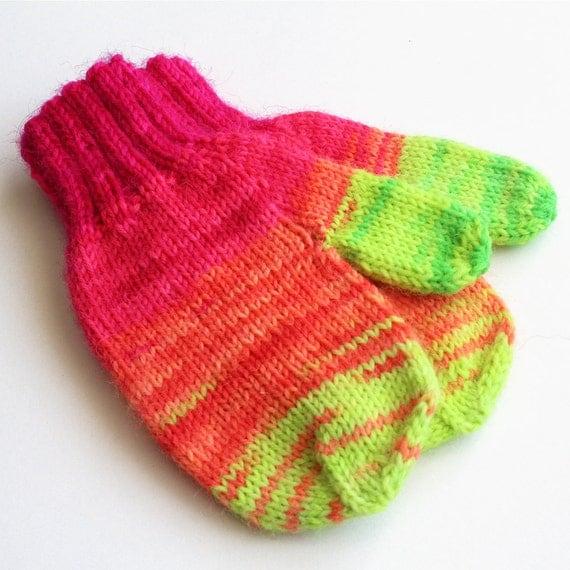 Kids Neon Wool Winter Gloves. Toddler 12 to 18 Months Mitts