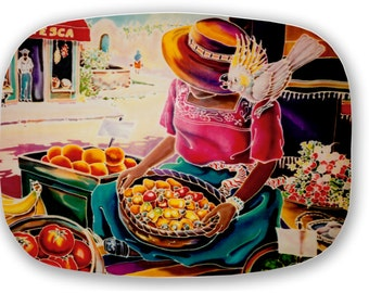Mexican Melamine Serving Platter Tray Old Mexico Mercado Painting Original