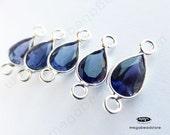 6 pcs 7mm Iolite (natural) Blue Gemstone Sterling Silver Bezel Tear Drop Connector F497S