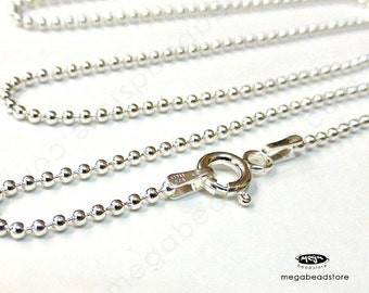 "24"" Italian 1.5mm Ball Chain Sterling Silver Necklace FC10"