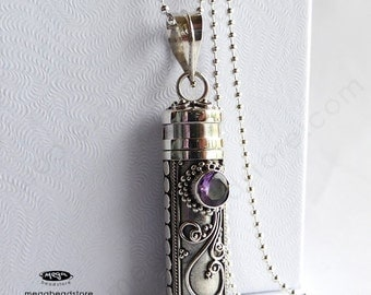 Lite Amethyst Bali Treasure Tube Sterling Silver Pendant Necklace P25