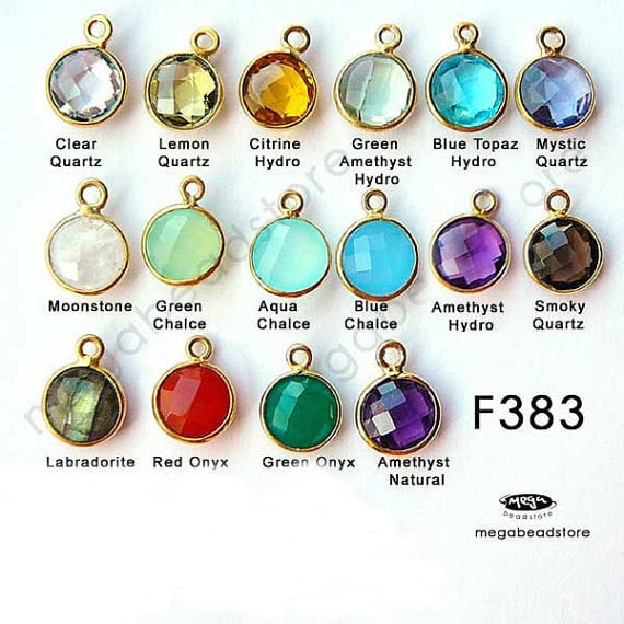 12mm (8mm Stone) Gold Bezel Gemstone Charm F383- 2 pcs (Choose your color)