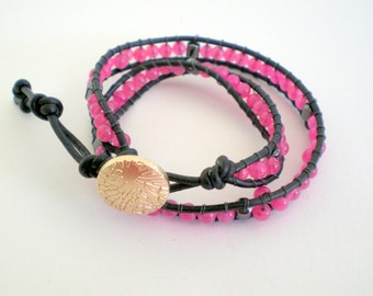 Black leather with pink beads double wrap bracelet, luu style leather bracelet, leather bracelet