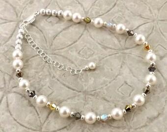 Heavy Metal multiple metallic Swarovski pearl and crystal adjustable anklet ankle bracelet
