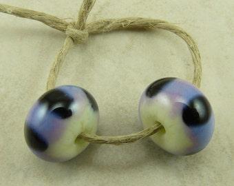 Fish Eyes Polka Dot Lampwork Glass Beads  - Lavender Purple Uranium Yellow Black Spots - Lampwork Bead Pair - SRA - I ship Internationally