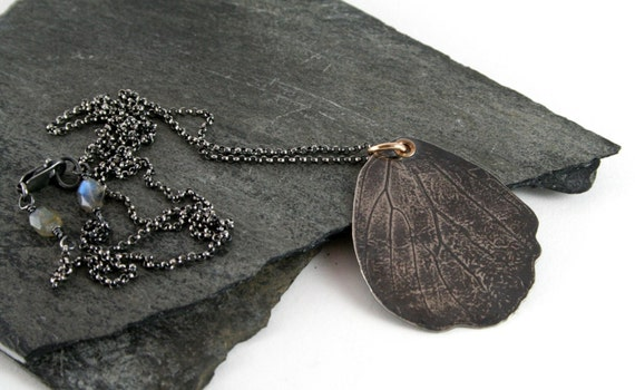 Silhouette Embossed Butterfly Wing Sterling Silver & 14K Gold Necklace