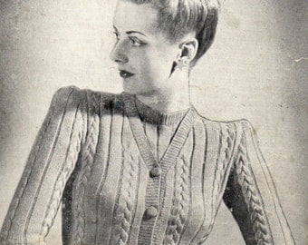 Vintage Cable Stitch Jumper Knitting Pattern PDF 1940s Instant Download