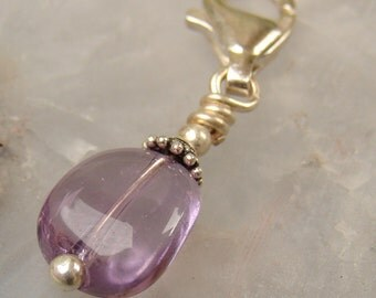 Ametrine Pendant Zipper Pull, Amethyst/Citrine Sterling Silver Wire Wrapped Nugget