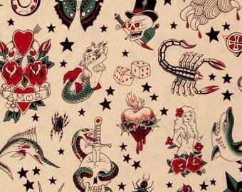 ALEXANDER HENRY Tattoo Light Tea Cotton Fabric 1/2 yard
