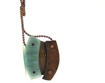 Oxidized Copper and Aqua Resin Riveted Pendant Necklace - Nuance
