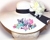 Butterfly Garden Floppy Hat Custom Colors You Choose Band, Bow, Flower OOAK Mother's Day, Easter, Derby Hat, Cup Race, Bridal or Wedding Hat