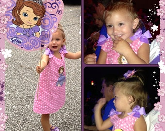 Princess Sofia the First Applique Monogram PINK Polka Dot Birthday Party A-line Dress Sophia