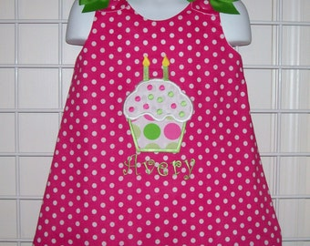 Hot Pink Polka Dot Birthday Cupcake Personalized Monogram A-line Party Dress