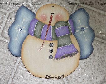 Sweet Snowie Angel Snowman with Swarovski Crystals Ornament  Cyndi Combs design