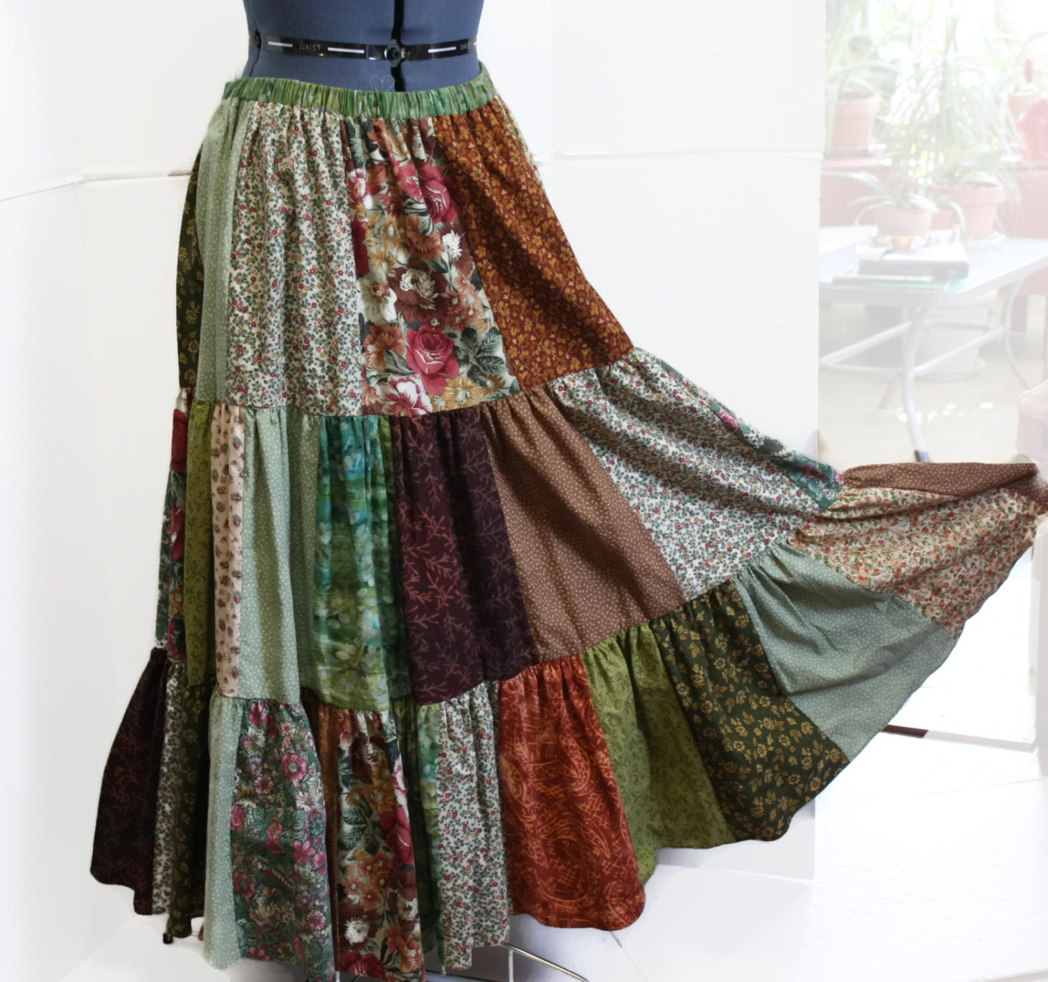 patchwork hippie skirt womens long skirt festival skirt hippie