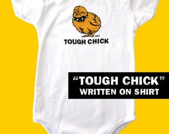 Tough Chick White Infant One Piece with TOUGH CHICK TEXT Baby Shower Gift Nursery Toddler Girl Cute Outfit Holiday Gift - Etsy
