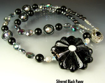 CLEARANCE. Glass Lampwork Beads. Handmade Beaded Necklace, Pendant. Jewelry Art. SILVERED Black PANSY by Openstudio. Openstudiobeads.