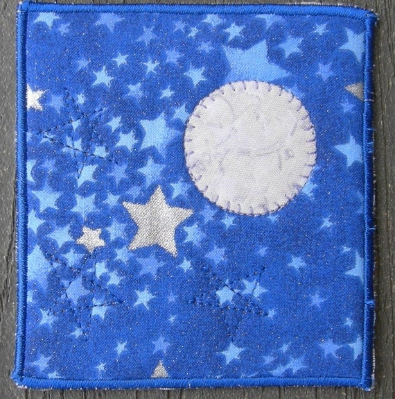 Quilted magnet fabric magnet moon and stars magnet royal for Moon and stars fabric