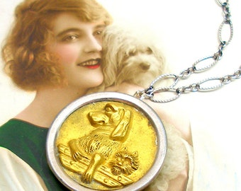 1800s BUTTON necklace, Victorian DOGS on sterling silver, OOAK one of a kind jewellery.