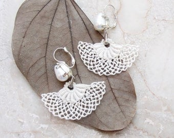 Needle lace  Earrings Bridal Pearl Earrings Marie Antoinette style