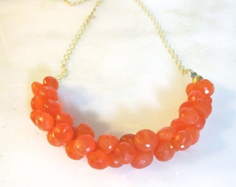 Orangina...Plump Clementine and Tangerine hued Carnelian cluster focal necklace...