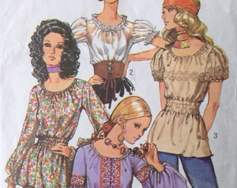 Vintage 70s Hippie Blouse Sewing Pattern 32.5 Bust Simplicity 9313 Boho Top Shirt 4 styles