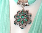 Scarf Jewelry Pendant Scarves With Pendants Seafoam Green Scarf Mint Green