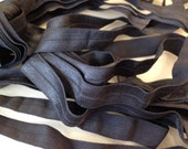 Fold Over ELASTIC - 5/8 Inch X 1 Yard - Black Solid