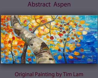 Original abstract landscape painting Looking Up Aspen Tree art on gallery wrap canvas Ready to hang by tim Lam 48x24