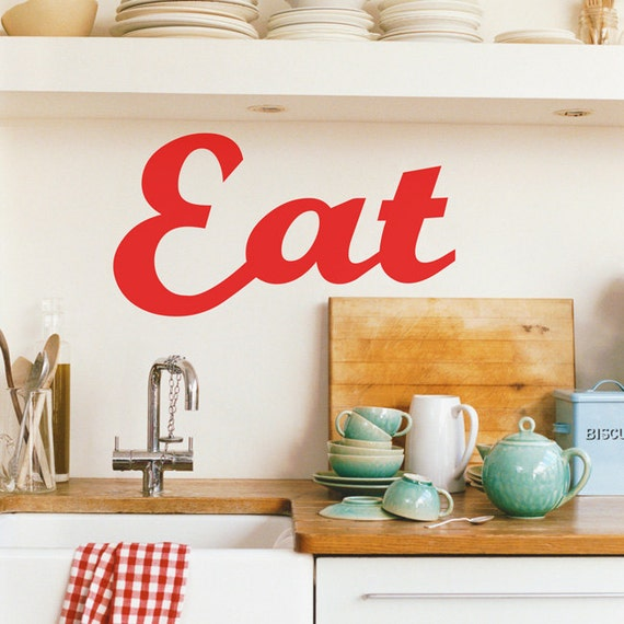 Items similar to eat wall decal eat wall decor large for Kitchen decor items