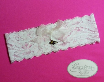 Baltimore Ravens Wedding Garter    White Lace Handmade Toss Garter with Baltimore Ravens Charm