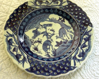 Vintage Blue and White Asian Porcelain Plate