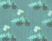 Bluebird Park Bicycle Teal by Kate and Birdie Paper Co.- Half Yard