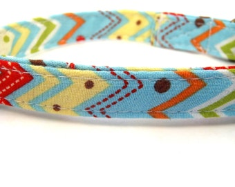 Albuquerque - Organic Cotton CAT Collar Breakaway Safety Southwest Blue Red Bold Colors - All Antique Brass Hardware
