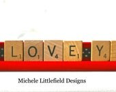 I Love You Valentine's Day Altered Scrabble Tile Holder Price Lowered