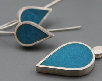 Aqua Drops Sterling Silver and Resin Pendant earrings set