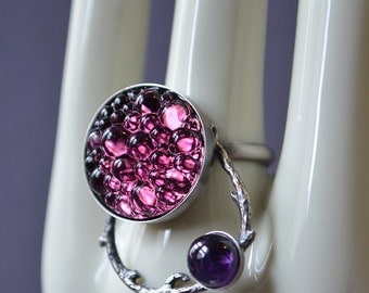Bacchus Ring Made With Glass Cab And Amethyst