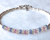 Multi Color Gemstone Bracelet Karen Hill Silver Bracelet Tanzanite Bracelet Pink Sapphire Bracelet Lemon Quartz Bracelet Bridal Jewelry