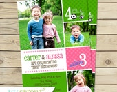 Joint Twin Photo Birthday Invitation- You Pick Colors and Theme