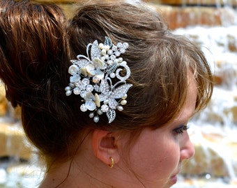 Beautiful Freshwater Pearl and Swarovski Crystal Butterfly and Flower Bridal Hair Comb