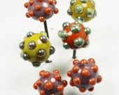 Sale 16 gage Lampwork Glass Head Pins A mixed set of 6