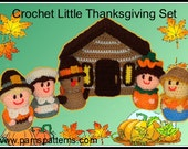 Crochet Little Thanksgiving Set, Crochet Animals, Crochet Log Cabin, amigurumi crochet