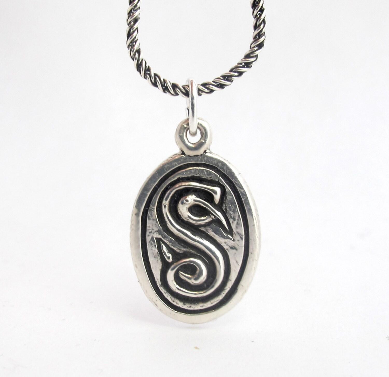 celtic initial necklace book of kells monogram pendant