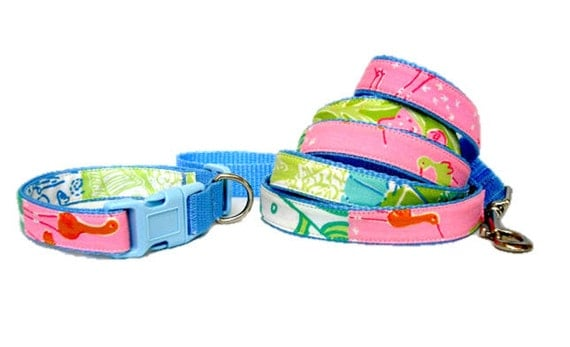 Dog Collar and Leash Set Made from Lilly Pulitzer Beach Patch Fabric Size: Your Choice
