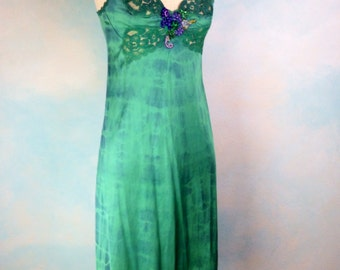 Dream Bohemian Vintage Upcycled Lingerie Green Dye Gypsy Slip Dress Small