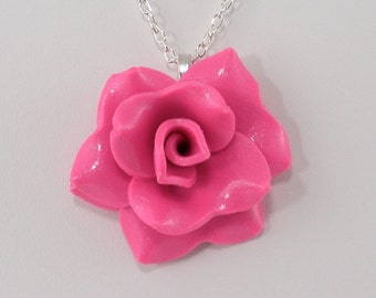 Candy Pink Rose Pendant Necklace - Rose Necklace - Hot Pink Rose Necklace - Handmade Wedding Jewelry - Clay Rose Pendant #248 Ready to Ship
