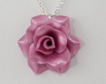 Light Fuchsia Rose Pendant Necklace - Simple Rose Necklace - Pink Rose - Handmade Wedding Jewelry - Polymer Clay Rose - #262 Ready to Ship
