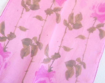 Roses and Dargonflies - a vintage 1950's hand-painted Vera Neumann Lucky Ladybug silk scarf