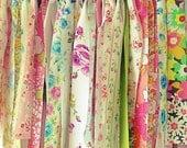 Vintage Shabby Chic Flower Rag Sheet Banner~Photo Prop~Flowered Garland